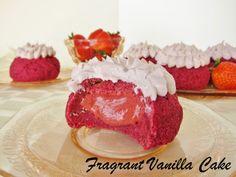 Raw Red Velvet Strawberry Filled Doughnuts from Fragrant Vanilla Cake