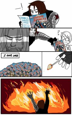 And they say Bucky's the villain Marvel Funny, Marvel Memes, Marvel Dc Comics, Marvel Avengers, Stucky, Bucky Barnes, Loki, Hulk, Winter Soldier Bucky