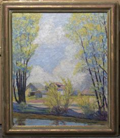 Lot 972  Roland Stewart Stebbins (American, 1883-1974) Untitled (landscape) oil on canvas signed R. Stebbins (lower left) 22 3/4 x 19 inches. - See more at: http://catalogues.lesliehindman.com/asp/fullcatalogue.asp?salelot=287++++++972+&refno=10213947#sthash.ZmiIJGli.dpuf