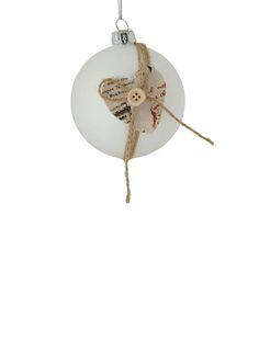Xmas white ball. Διακοσμητική Χριστουγεννιάτικη μπάλα, 8 cm (L155097) Christmas ornments