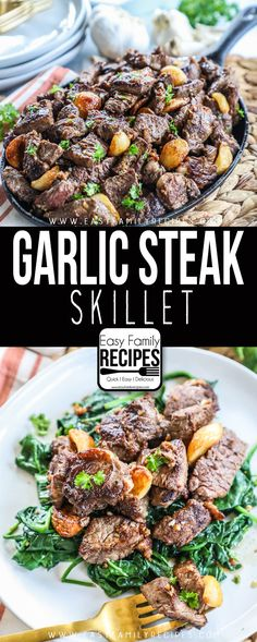 My husband BEGS for this! Garlic Steak is a quick and easy recipe for busy weeknight! This easy beef dinner can be made in as little as 30 minutes and is PACKED with flavor! As a bonus it is gluten free, dairy free, compliant, low carb, paleo and k Dairy Free Bread, Dairy Free Snacks, Dairy Free Breakfasts, Dairy Free Diet, Gluten Free Recipes For Dinner, Beef Recipes For Dinner, Healthy Recipes, Beef Dinner Ideas, Easy Gluten Free Meals