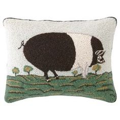 """Hand-hooked wool and cotton pillow with a farm animal motif.   Product: PillowConstruction Material: Wool and cotton cover and polyester fillColor: MultiFeatures:  Hand-hookedInsert included Dimensions: 14"""" x 18""""Cleaning and Care: Spot clean"""