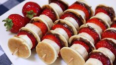 Strawberry, Banana, and Nutella Pancake Kabobs Slumber party , sleepover party ideas decorations games , crafts and activities. Camping party