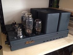 The Fisher model 100 mono block tube amplifier with tubes from 1958 and new painting job Valve Amplifier, High End Audio, Vacuum Tube, Audiophile, Espresso Machine, Fisher, Heaven, Electronics, Amazing
