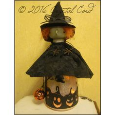 Halloween creepy green witch lighted jar pumpkin ooak doll whimsical... ($65) ❤ liked on Polyvore featuring home, home decor, holiday decorations, fall home decor, halloween home decor, green jars, green home decor and pumpkin jar
