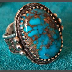 Gem Morenci Turquoise, Silver Gold Ring by Arland Ben Gold Rings Jewelry, Navajo Jewelry, Gold And Silver Rings, Southwest Jewelry, Indian Jewelry, 925 Silver, Jewlery, Bohemian Jewellery, Tribal Jewelry