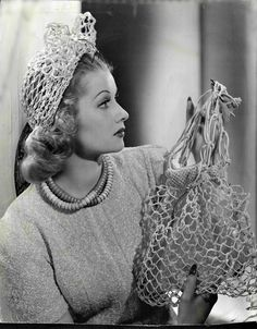 Lucille Ball with a Crochet Hat and Purse, 1940s. Black and white pictures make it look so elegant.