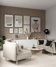 After a long time with grey as a dominating color for interior, it's now time for warmer, softer hues! Beige will be one of the key trends in Living Room Modern, Home Living Room, Living Room Decor, Living Spaces, Wall Decor Design, Interior Design Living Room, Hallway Designs, House Design, Gallery Walls