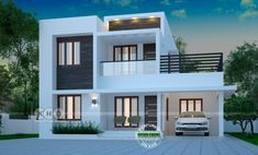 1871 Square Feet Square Meter) Square Yards) 4 bedroom home design in modern style. Design provided by Dream Form from Kerala. Bungalow House Design, House Front Design, Modern House Design, Casas The Sims 4, Modern Entrance, Home Design Floor Plans, Kerala House Design, Kerala Houses, Bedroom House Plans