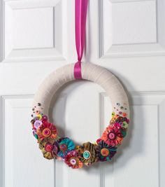 Burlap Wreath with Frayed Fabric Flowers and Buttons