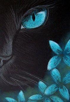Art: Black Cat - Aqua Flowers 4 by Artist Cyra R. Cancel < love the colours! Pastel Art, Art Portfolio, Animal Paintings, Cat Art, Painting Inspiration, Painting & Drawing, Art Projects, Illustration Art, Illustrations