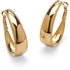 Palm Beach Jewelry Gold ION-Plated Stainless Steel Hoop Earrings... (1,925 INR) ❤ liked on Polyvore featuring jewelry, earrings, yellow, yellow gold hoop earrings, clasp earrings, beach jewelry, yellow hoop earrings and beachy jewelry