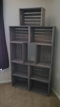"Made my own ""rustic wood"" bookshelf with crates. Crates from AC Moore. Stained w… - Wooden Crates Bookshelf Diy Home Furniture, Crate Furniture, Unique Furniture, Furniture Design, Crate Bookshelf, Wood Bookshelves, Wood Crate Shelves, Diy Home Crafts, Diy Home Decor"