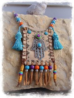 Hamsa Hand Leather medicine bag, Tribal Ibiza summer by GPyoga. Textile Jewelry, Fabric Jewelry, Leather Jewelry, Leather Craft, Fabric Necklace, Boho Bags, Painting Leather, Hamsa Hand, Leather Pouch