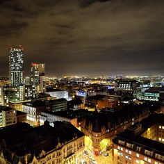 A shot over the city of Manchester at night. This photo originally appeared on the @WeAreMCR Instagram account and was taken by @debbiekodas.
