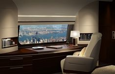 Boeing has announced its plan to introduce the SkyView Panoramic Window—the largest window available for any passenger jet— on its Boeing Business Jets which will offer its passengers an expanded view of beautiful skies and the world below. Luxury Jets, Luxury Private Jets, Private Plane, Avion Jet, Boeing Business Jet, Private Jet Interior, Rv Interior, Luxury Helicopter, Jet Privé