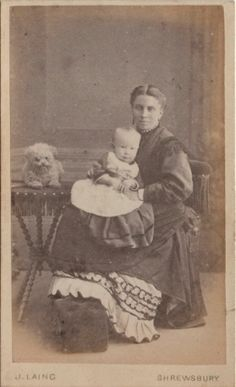 CDV photo Victorian Mother with Baby and Dog - Laing of Shrewsbury 1870s
