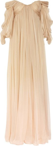 Alexander Mcqueen Degradé Silk Chiffon Gown in Beige