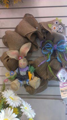 Burlap Easter bunny wreath Robin Evans