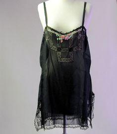 7ad7b2a4dcc5da 1920s Chemise Black silk lace Pink Rosettes by LaMeowVintage Vintage  Corset
