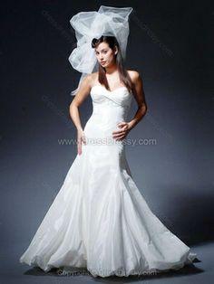 Trumpet/Mermaid Sweetheart Taffeta Sweep Train Ruffles Wedding Dresses -$233.99