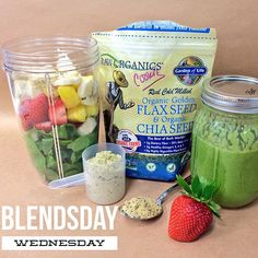 It's #BlendsdayWednesday which means it's time for a new smoothie blend from The Vitamin Shoppe. Try this one with Garden of Life #organic chia seed/flax seed, 1 scoop of natural Vega protein powder and then add spinach, pineapple, strawberries, banana and water! #greens #vitaminshoppe #smoothie #smoothierecipes #nutribullet #chiaseed #flaxseed #healthy #diet #nutrition