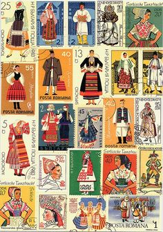 Stamps - Bulgaria and Romania Love Stamps, Thinking Day, Folk Costume, Costumes, Mail Art, Stamp Collecting, Illustrations, Postage Stamps, Folk Art
