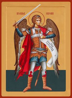3/07 - Archangel Michael, icon Orthodox Catholic, Crucifixion Of Jesus, Holy Rosary, Byzantine Icons, Angels And Demons, Orthodox Icons, Sacred Art, St Michael, Religious Art