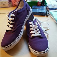NWOT Vans Never Been Worn, except to try on.  These are super cute and can be worn w/ jeans, shorts, dress,etc. Vans Shoes
