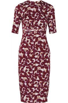 Suno Cutout Floral-Print Stretch-Silk Dress in White (Red) | Lyst