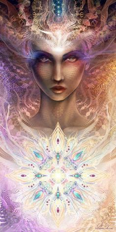 """""""The Grail of the Feminine is urging us to open our minds to a new vision of reality, a revelation of all cosmic life as a divine unity. Visionary art by Olivia Curry """""""