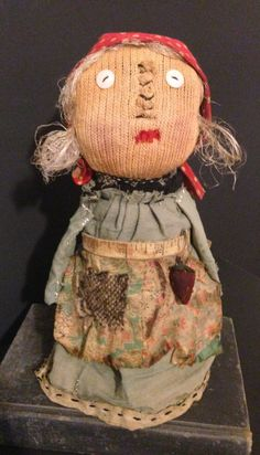 Primitive Bottle Doll Handmade with Antique Quilt Scraps Old Tape Measure and Vintage Strawberry Pin Keep Handmade Folk Art Doll Prim Decor by ThePokeyPoodle on Etsy