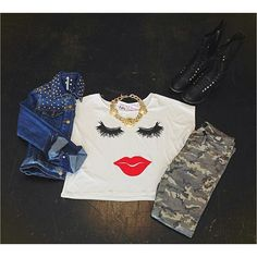 Studded jean jacket // lipstick graphic tee // makeup tee // camo jeans // combat boots // statement necklace // red lips tee // Miami boutique // fashion // fall fashion // @girlswillbegirls