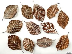 Illustrations on Leaves - Workspace Wednesday – Autumn Leaf Art at www.elistonbutton.com - Eliston Button - That Crafty Kid