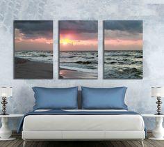Large three piece beach art photograph sunrise Perdido Keys, Florida nature wall print triptych multiple panels ocean sunset cloud decor by caughtitoncanvas on Etsy