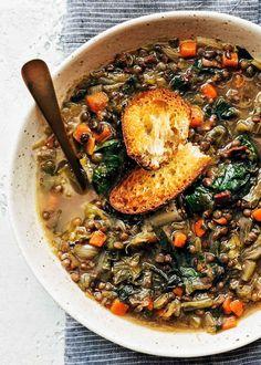 French Lentil Soup with Escarole   Striped Spatula