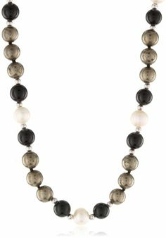 "8mm Pyrite, Black Agate and Freshwater Cultured White Pearl Sterling Silver Beads Necklace (327.76 cttw), 40"" - Fashion Jewelry"