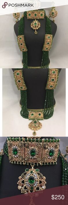 NWOT Indian Bollywood bridal set NWOT Beautiful Bridal Rani haar With High Quality green Color Crystal Beads.  Polki Kundan jewelry extremely good quality attached stones . Layered with high quality crystal beads very beautiful in front pictures are not doing justice . I took pictures in different lights to show the color . . Set included long necklace , choker necklace , dangle earrings, matha Tikka.    All sales are final no return accepted .  Please ask any question before bidding or…