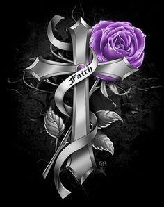 Cross with Rose Rose Design, Design Art, Gothic Crosses, Jewelry, Jewlery, Jewerly, Schmuck, Jewels, Jewelery