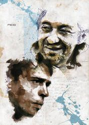 Serge Gainsbourg et Jacques Brel, by Florian Nicolle Watercolor Fashion, Watercolor And Ink, Watercolor Illustration, Collage, Watercolor Portraits, Drawing Portraits, Photo Canvas, Pretty Art, Drawing People