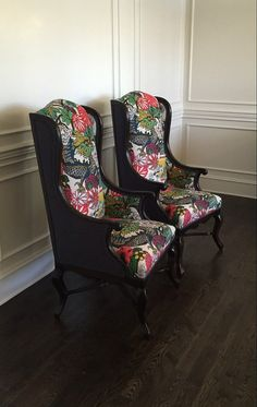 HENDRIX PAIR - Pair of Chairs .... Exposed Wood Chairs - Wing Chair -  schumacher Chiang Mai Dragon Fabric