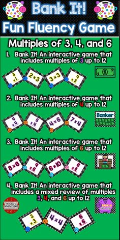 This fun interactive game will have your students cheering for more while they are learning their times tables.   Concepts covered: Bank it game with just multiples of 3 up to 12, multiples of 4 up to 12, and multiples of 6 up to 12.  Your kids will be begging to play again.