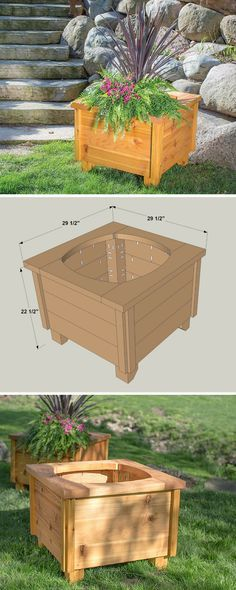 """This great-looking planter makes the perfect place for your favorite plants and flowers. It's sized to hold an 18"""" round plastic pot, which you can pick up in any garden center. Thanks to the planter's large size, it offers plenty of space to create a stunning display on your porch, deck, or patio. Get the free DIY plans at buildsomething.com"""