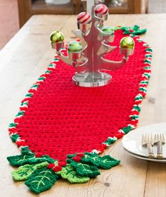 Holly Trim Table Runner Free Crochet Pattern in Red Heart Yarns