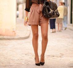 #4: Bow shorts and sheer chiffon blouse.