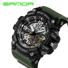 SANDA Brand Fashion Sport Super Cool Men's Quartz Digital Watch LED Military Wristwatches Men Sports Watches Relogio Masculino