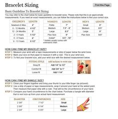 Sizing Information for bracelets, necklaces, and rings