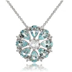 Fine Jewelery Womens 18 Inch Blue Topaz Sterling Silver Link Necklace ($100) ❤ liked on Polyvore featuring jewelry, necklaces, sterling silver blue topaz necklace, sterling silver jewellery, blue topaz jewelry, sterling silver jewelry and sterling silver necklace