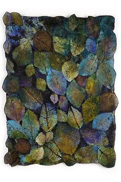 "Lesley Richmond Leaf Cloth Series by claire 'Forest Scape by Lesley Richmond Cotton/silk fabric - Cloth Series, ""Leaf Cloth x was created by textile artist Leslie Richmond of Vancouver, Canada.Lesley Richmond is a textile artist inspired by natur Art Fibres Textiles, Textile Fiber Art, Textile Artists, Cotton Silk Fabric, Leaf Art, Nuno Felting, Natural Forms, Fabric Art, Felt Crafts"