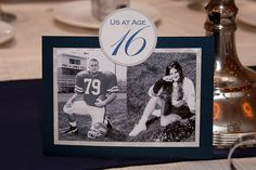 Use table numbers with pictures of the couple at that age